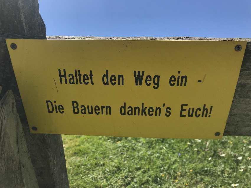 Wanderweg Obernberger See - bitte nicht quer übe die Almwiesen!